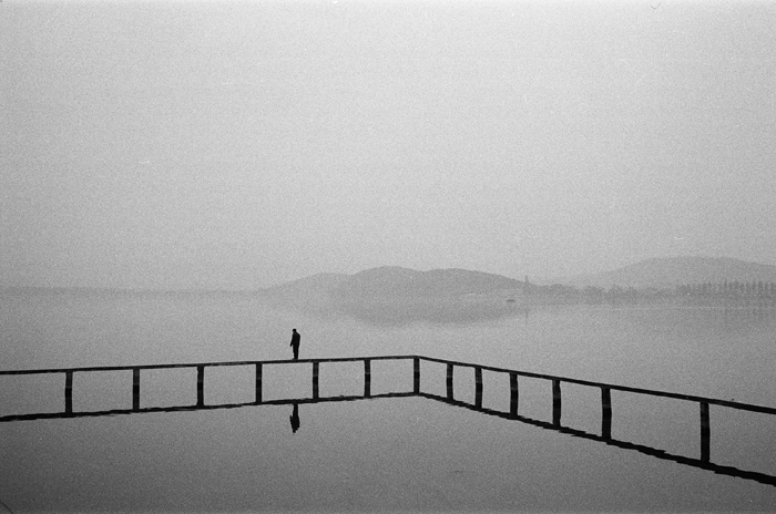Angler   Testing the Water    LingBo gate of Wuhan University, Wuhan  Spring 2015        Inkjet Print on Fine Art Paper/ Silver Print, 28 x 35.5 cm/ 51 x 61 cm