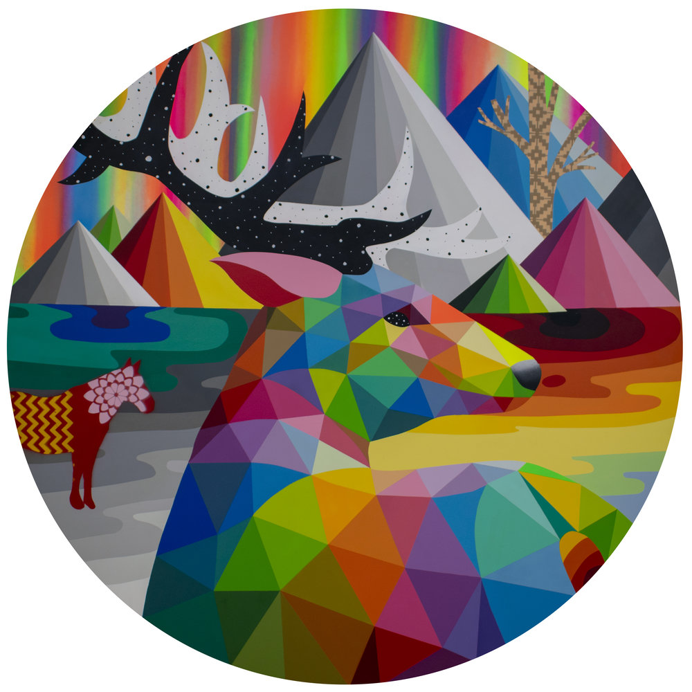 _Last rainbow deer_ 2019 Synthetic enamel on wood 110cm.jpg
