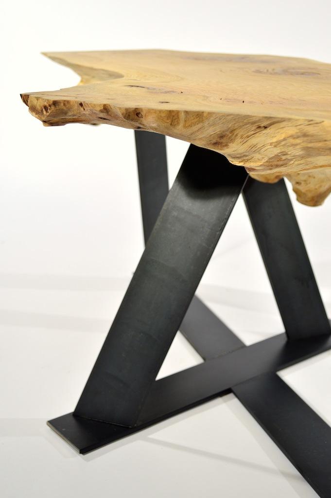 Proteus | Burr Oak Side Table With Steel Legs | Quixotic Bespoke