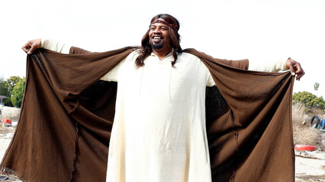 "Gerald ""Slink"" Johnson as Black Jesus, in Aaron McGruder's live action sitcom on Adult Swim."