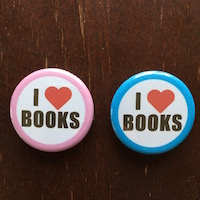 """Set of 2 """"I Love Books"""" buttons, $3 plus $3 shipping"""