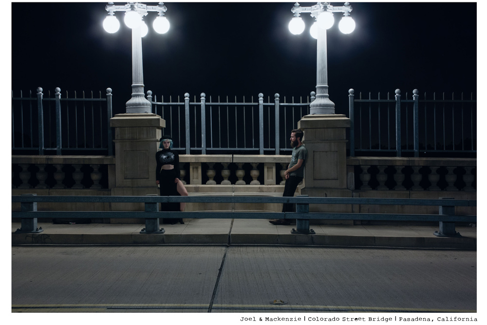 "The second image from the photo series my boyfriend & I are working on together (couple photos at haunted locations because we both are morbid like that) The construction of the Colorado Street Bridge started a little over 100 years ago. Since then it adapted the name the ""Suicide Bridge"" by locals. The first tragedy occurred during construction of the bridge when a worker fell over the side of the bridge and into a pile of wet cement. It is estimated since then more than 100 people have committed suicide on the bridge. It is said the bridge has multiple spirits that wander & is one of the most haunted places in Los Angeles."