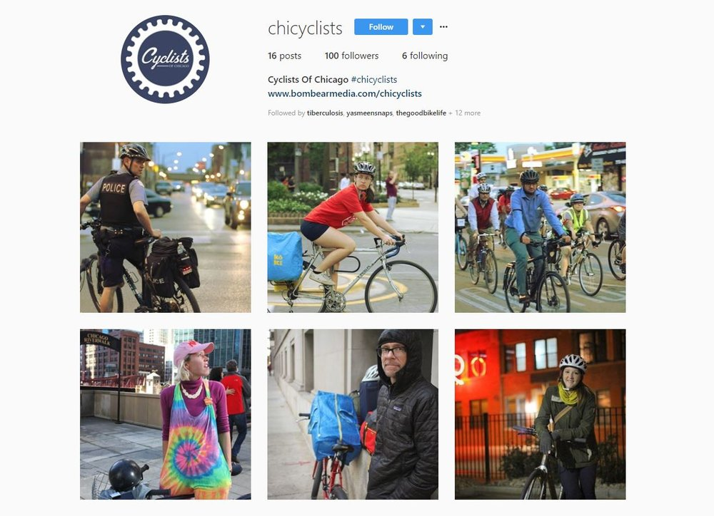 Cyclists of Chicago (#ChiCyclists) on instragram.