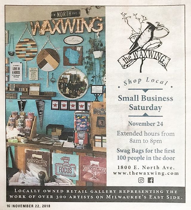 Shop Small, Y'all! Our pals at @thewaxwing are throwing a #SmallBusiness Saturday shindig you won't want to miss. Pop in and grab gear from some local #MKE faves! . . . . . . #smallbiz #shopsmall #smallbusinesssaturday #milwaukee #shoplocal #supportlocal #mkehome #milwaukeehome #waxwing #localmakers #supportlocalartists