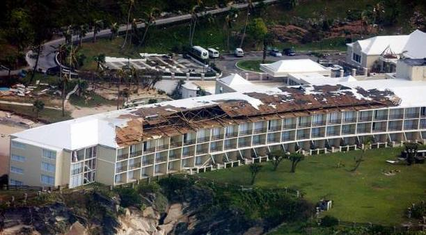 main hotel building after hurricane
