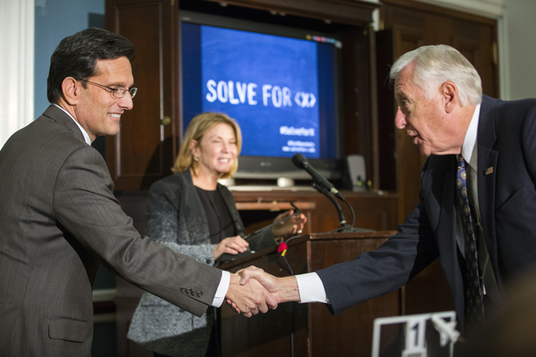 (L-R) Rep. Eric Cantor (R-VA) and Rep. Steny Hoyer (D-MD) at Google's Solve for X on Capitol Hill.