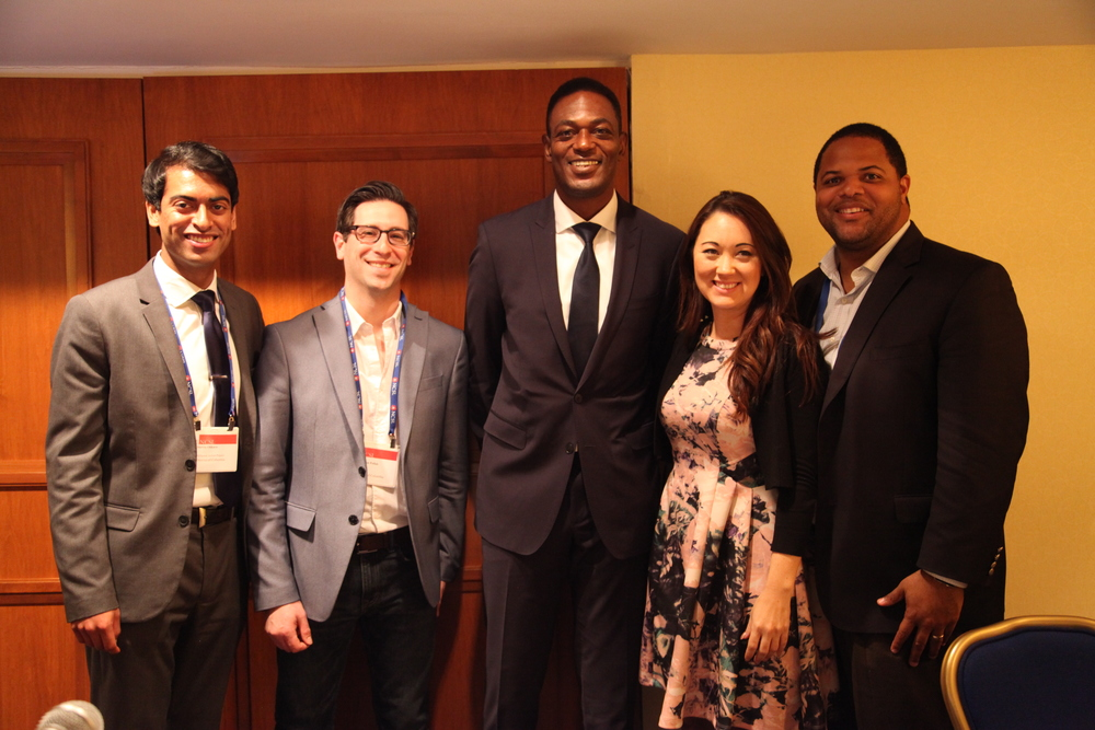 L-R: Steven Olikara, Brandon Pollak, Dean Garfield, Representative Eric Johnson (D-TX) and Representative Beth Fukumoto Chang (R-HI)