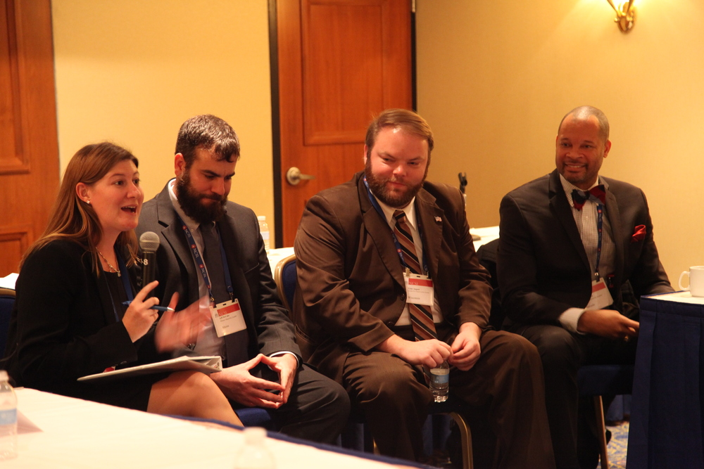 L-R: Stacy Householder, Representative Jeff McCabe (D-ME), Representative Tyler August (R-WI), and Senator Aaron Ford (D-NV)