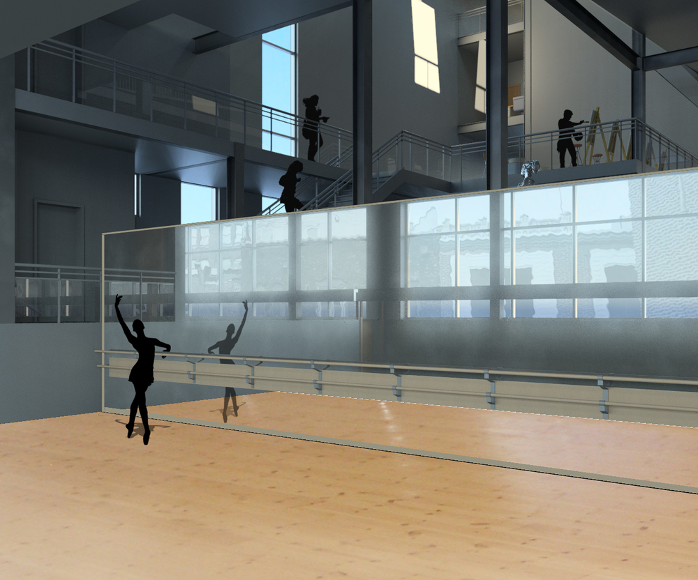 THE OPEN BALLET STUDIO REFLECTS THE ACTIONS OF THE DANCERS ON A BACKDROP OF THE CITY