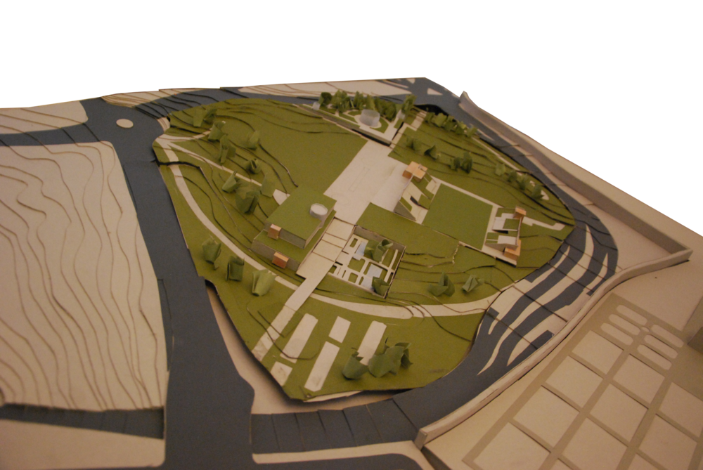 Physical Site Model Showing the Eventarium with the Museum, Riding Arena, and Shopping Center