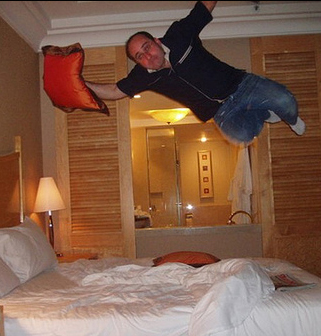 Jumping into bed
