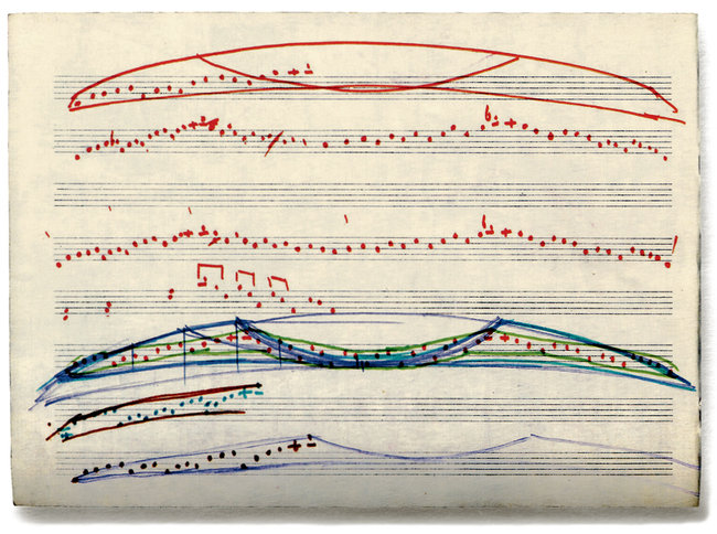A manuscript page of Arvo Pärt's, in which he seeks a melodic structure based on notation derived from the shape of a bird in flight.
