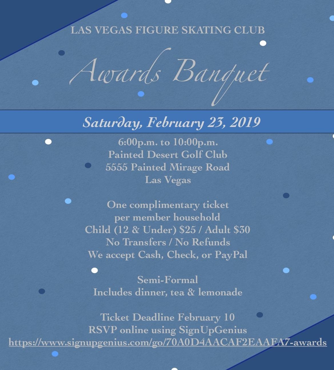 Las Vegas Calendar February 10 2019 2019 Annual Awards Banquet Dinner — Las Vegas Figure Skating Club