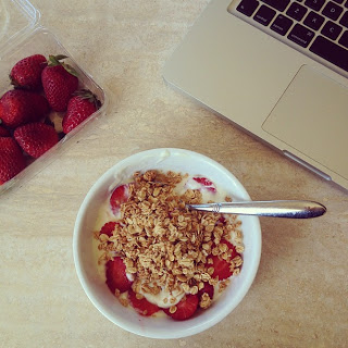 Apple & Cinnamon granola with yoghurt and fresh strawberries