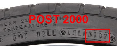POST 2000 Tire: 5107 = 51st week of 2007