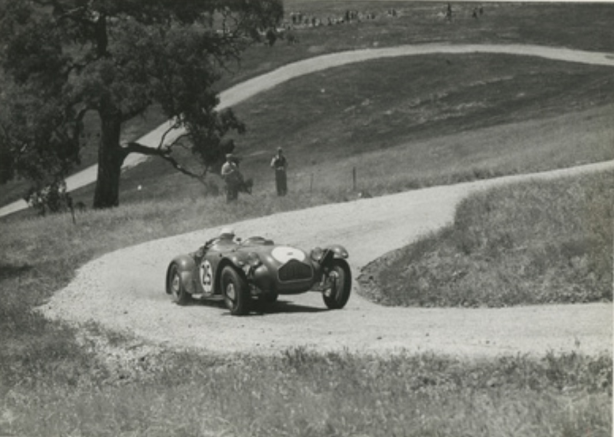 Tom Hawkes caresses his powerful Allard around the twisty, challenging gravel confines of South Australia's Collingrove Hillclimb at its inaugural, public, 15 March 1952 meeting…1st in the over 1500cc Sports Car class. (State Library of South Australia)