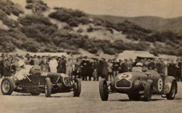 Hawkes ahead of Eldred Norman's Maserati 6CM at Adelaide's Sellicks Beach. This meeting in 1953 was the first all car beach program post-War. Sellicks Beach 55 Km from Adelaide. Tom is kicking the tail out, no shortage of power on the soft sand! Eldred Norman and his many cars are fascinating stories for another time. (forum.fefcholden.club)