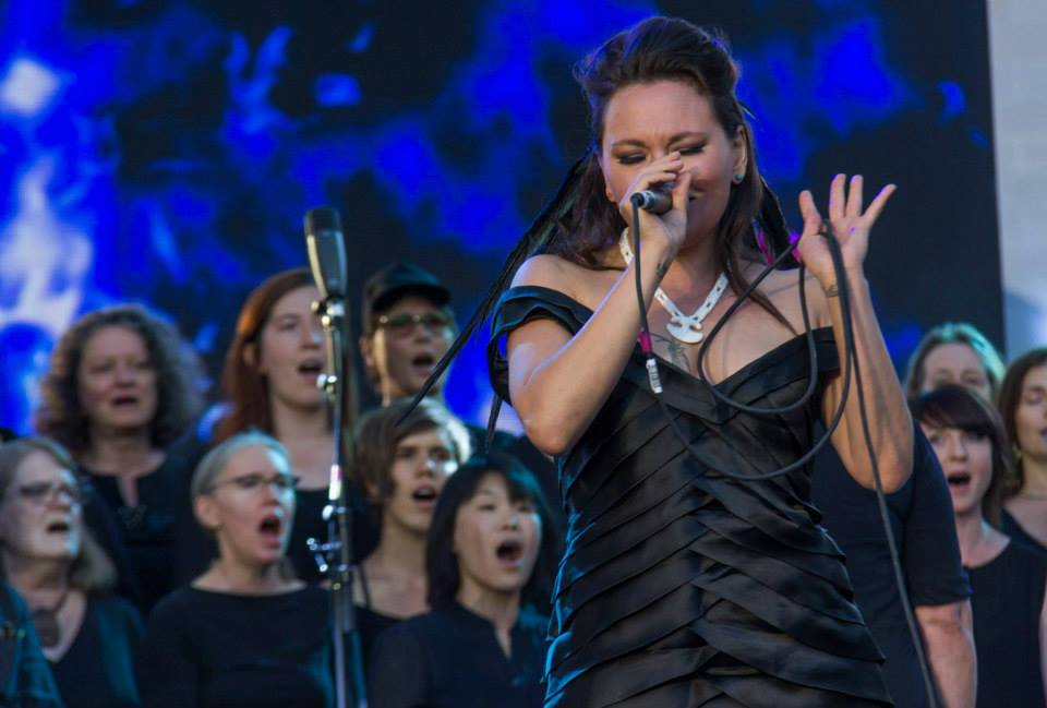 The Element Choir performing with Tanya Tagaq at The Great Hall, in 2017.