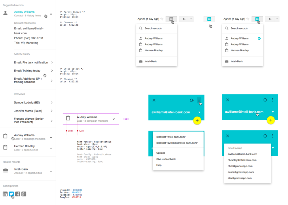 Specification of UI elements and interactions.