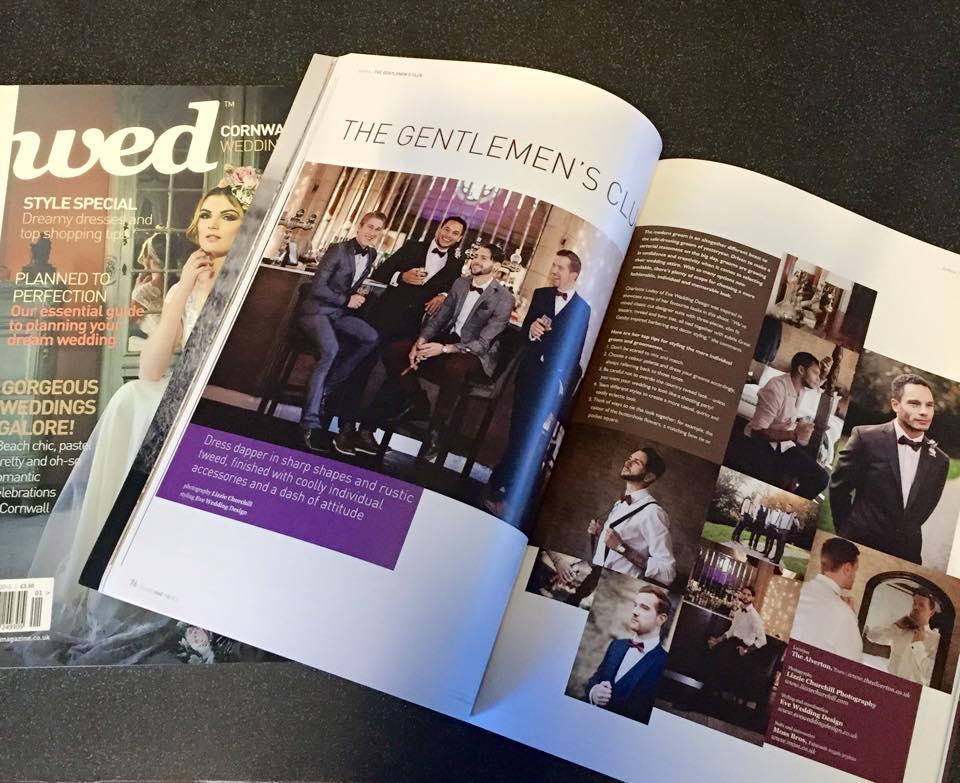 groomsmen feature in wed magazine