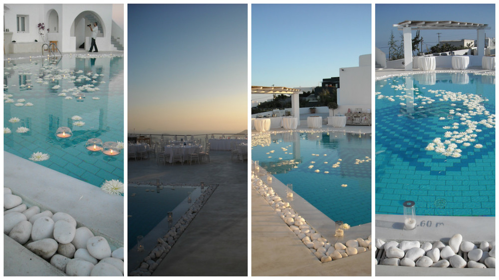 The main pool at Rocabella with floating flowers and candles looking beautiful day and night....