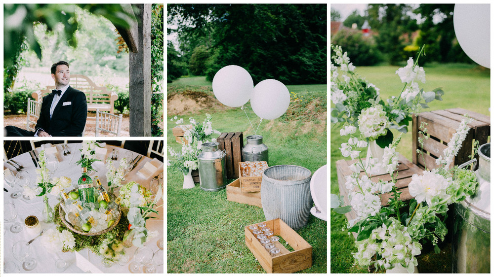 Rustic boxes and milk churns work well with the organic, wild flowers.