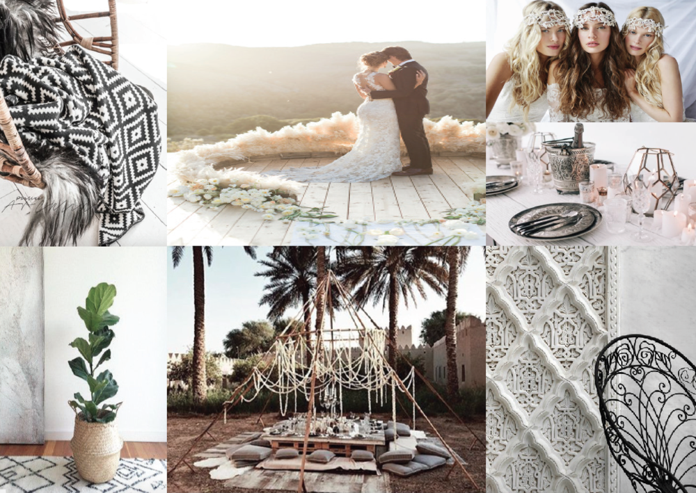 Boho Luxe Package. This takes Boho to the next level with bold black and white tones, metallics, white wash timbers and soft textures such as furs and leather details. Click HERE to see more...