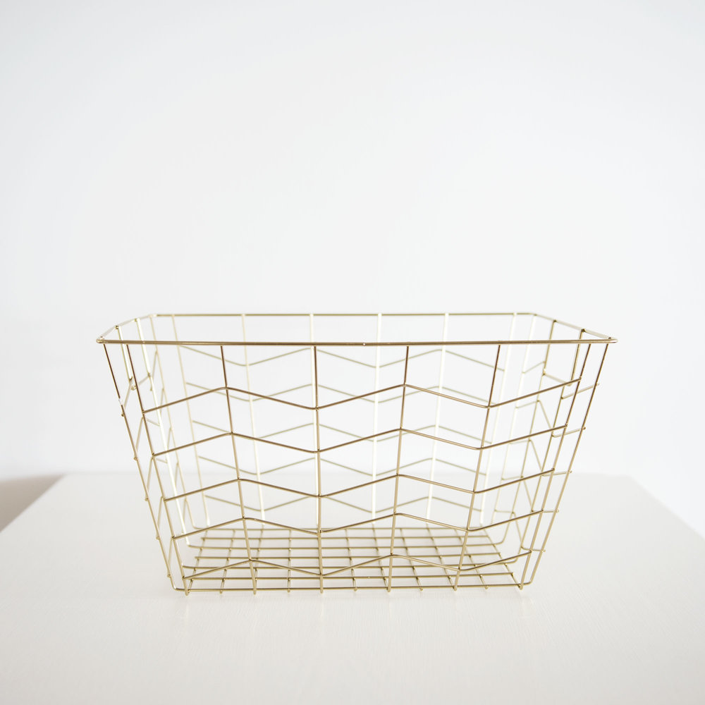 Gold Rectangle Geometric Basket I $10ea I Qty 2