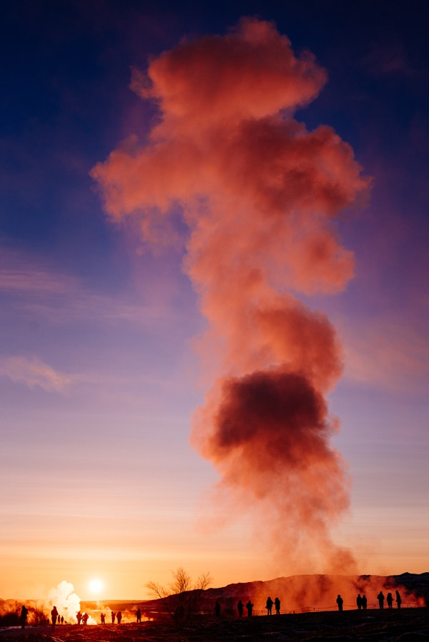 Aftermath of Strokkur hot spring erupting (Icelandic for churn)