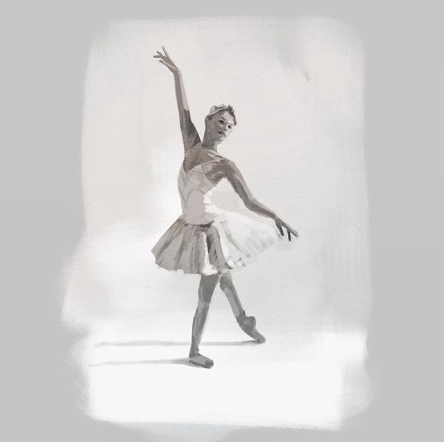 High key ballet study. Procreate, iPad Pro, Apple Pencil.  #gesturedrawing #art #sketch #study #lifedrawing #ballet @procreate