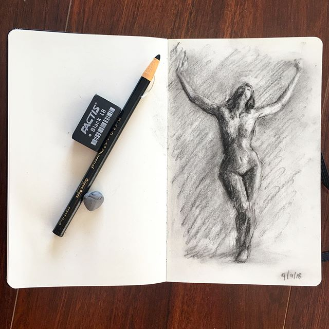 Charcoal figure study. Charcoal pencil & Moleskine. #sketch #lifedrawing #figure #charcoal #moleskine #art #drawing