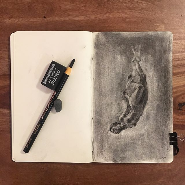 Charcoal life study. Additional pencil gestures. Charcoal, putty rubber, moleskine.  #lifedrawing #sketch #sketchbook #study #art #figure #moleskine