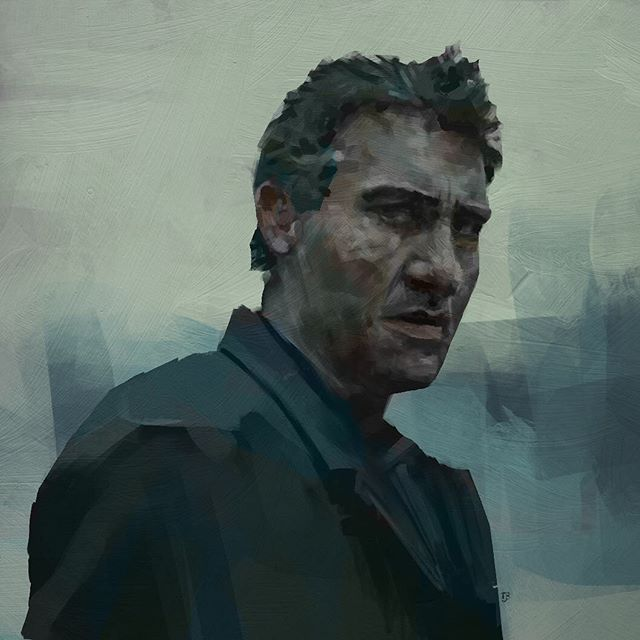 Likeness study.  Clive Owen from Children of Men. Painted in black & white, with some basic colour added over the top.  Photoshop / Wacom intuos.  #sketch #study #lifedrawing @adobe @wacom @photoshop