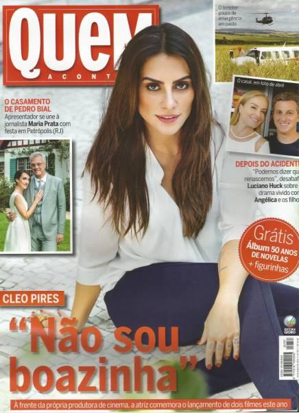 A atriz Cléo Pires usando blusa Amabilis na capa da revista Quem!
