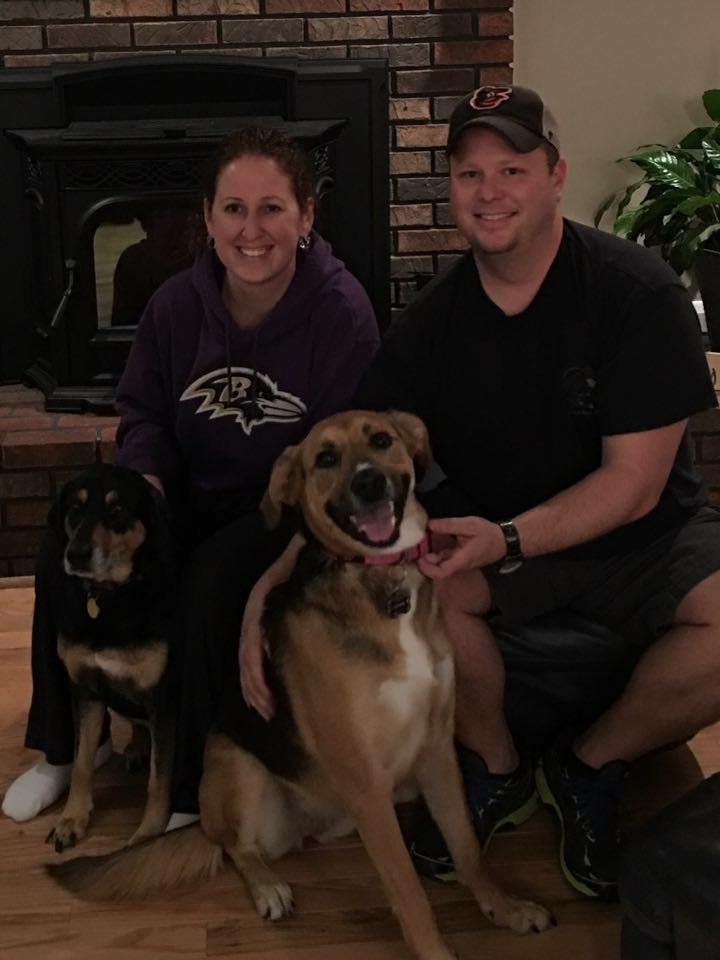 Sophie (on right) has a huge smile on her face now that she is a member of the Bebber family!