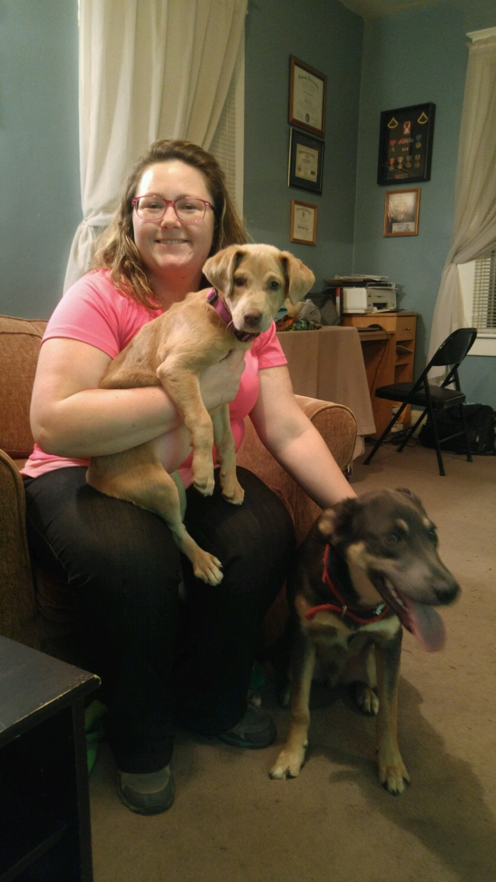 CJ was adopted by Danielle and her fur brother, Axel (on right).
