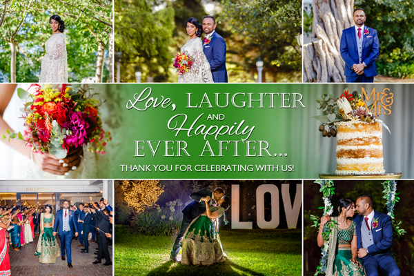 E-CARD DISTRIBUTION - An image of the couple together with a personalised thank you message, emailed by I.C. CAPTURED to wedding guests within 7 days of the Wedding.