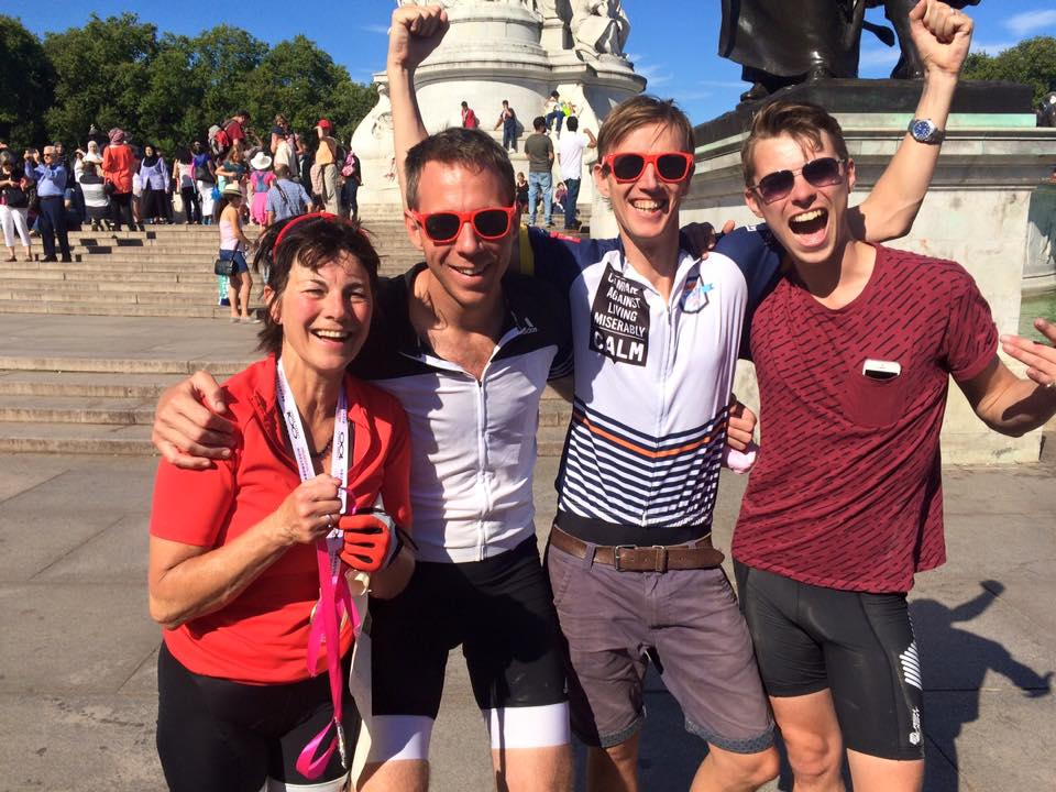 Salvo (second from left) at the end of the 100 mile Ride London last weekend.