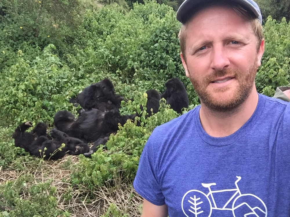 Me at the end of our journey in the jungle, with a family of 17 mountain gorillas.