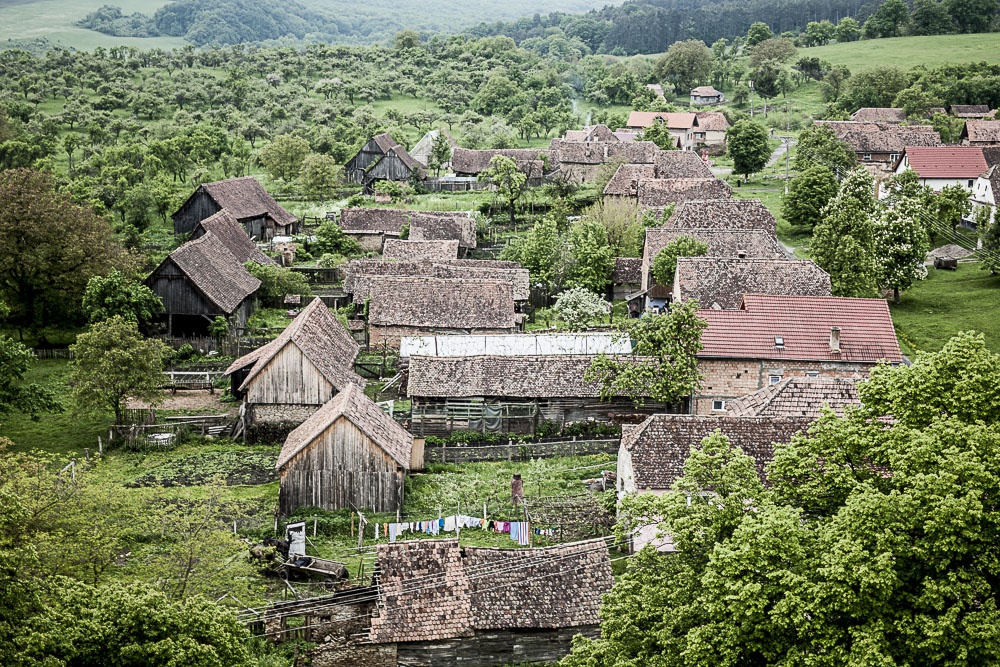 The village of Biertan viewed from the tower of its UNESCO World Heritage Fortified Church.JPG