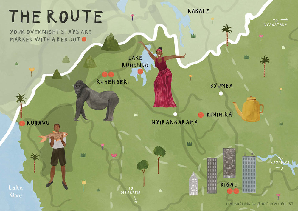 Rwanda Map, The Slow Cyclist