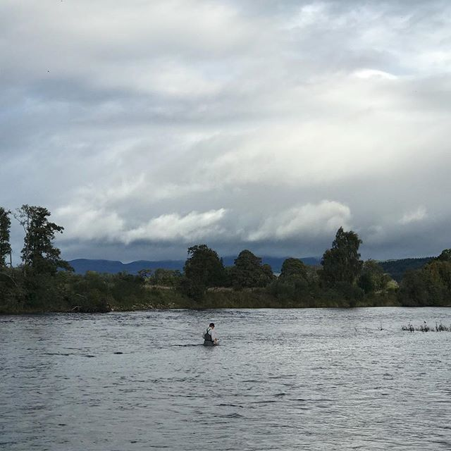 Wading up Dalmarnock bank pool to fish the scallop