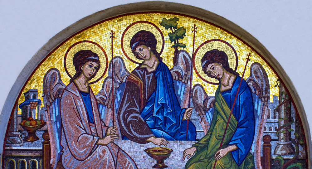 Mosaic icon of Holy Trinity in Orthodox Church, Budva, Montenegro. Vlada Z / Shutterstock