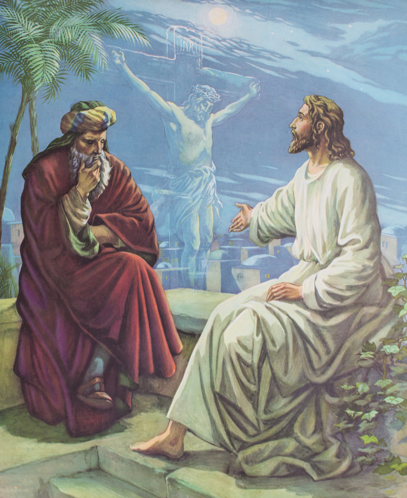 Jesus teaches Nicodemus. Editorial credit: Freedom Studio / Shutterstock.com.
