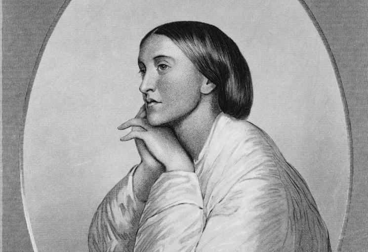 Christina Rossetti (1830-1894) in a chalk drawing by her brother, Dante Gabriel Rossetti, 1866.
