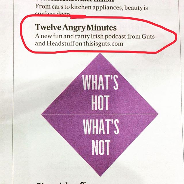 Thank you to The Irish Times for mentioning our new podcast Twelve Angry Minutes as a What's Hot this week 🔥🔥🔥🔥We're back with the second episode this week, with @unamullally talking about vanishing queer spaces 💪🏼cc @thisheadstuff