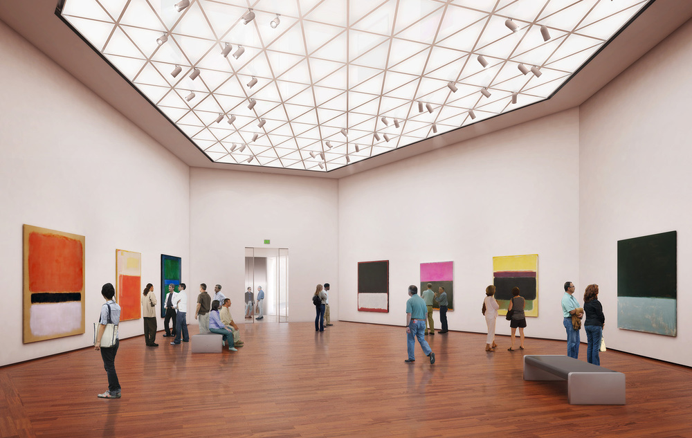 Rendering of the interior of the new Pod 1 Tower Gallery in the National Gallery of Art East Building, featuring works by Mark Rothko from the permanent collection of modern and contemporary art.