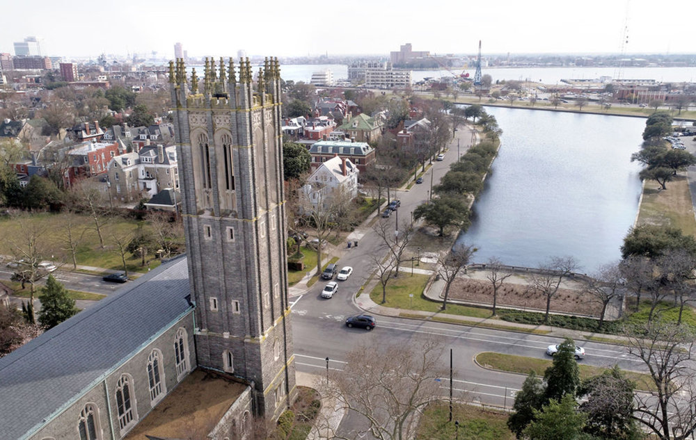 Christ & St. Luke's Episcopal Church in Norfolk stands just across the street from the flood-prone Hague.