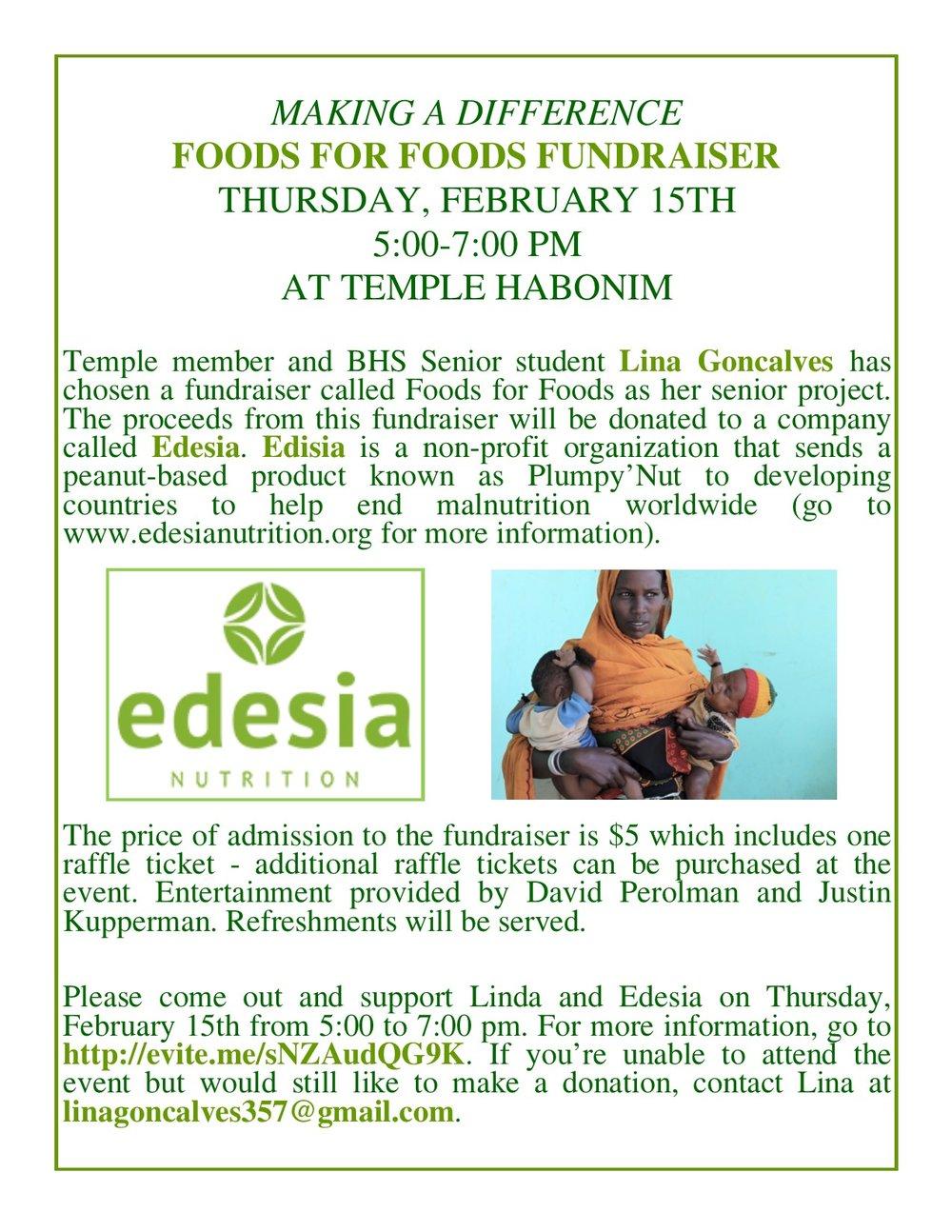foods for foods funraiser temple habonim