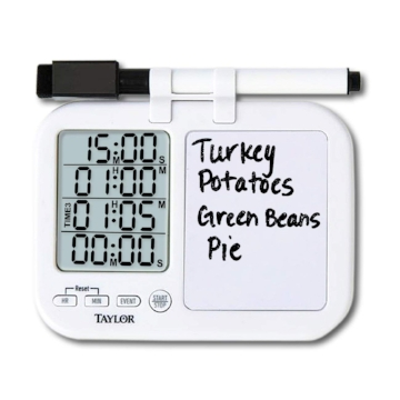 When preparing a big meal, you are often cooking several dishes at a time and this   Four-Event Kitchen Timer with Whiteboard   keeps you on track. Use the built-in whiteboard and the dry erase marker to label each timer with the corresponding dish. Each timer has its own distinctive alarm so you can easily identify when an item is done. It's a lifesaver!